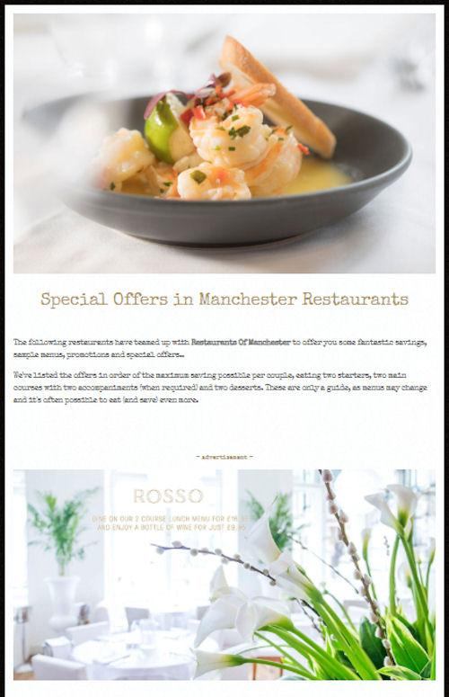Manchester Restaurant offers