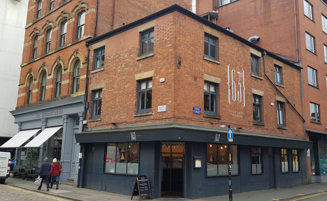 Restaurants in the Northern Quarter Manchester ~ 63 Degrees Manchester